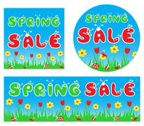 Spring sale stylized colorful banners - stock illustration