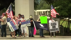 Immigration Protest Close Border Signs Stock Footage