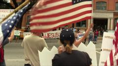Immigration Protesters and Counter Protesters Stock Footage