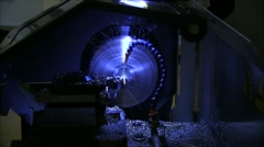 Machine Turning Part straight on view - stock footage