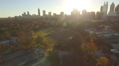 Aerial Shot L to R of Atlanta, GA and Piedmont Park Stock Footage