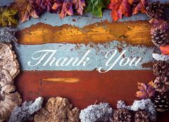 'Thank You' on wooden board Stock Photos