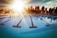 The outdoor pool Stock Photos