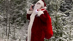 Santa Clause with gift bag talking on smartphone in the snowy woods - stock footage