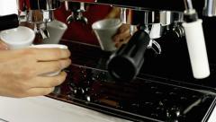 Coffee machine four cups prepare Stock Footage