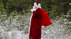 Santa Clause with gift bag in the forest - stock footage