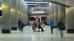 modern subway station vistavochnaya timelapse. Moscow, Russia - stock footage