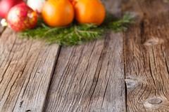Christmas decoration on rustic wood Stock Photos
