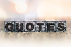 Quotes Concept Vintage Letterpress Type - stock photo