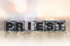 Priest Concept Vintage Letterpress Type - stock photo
