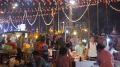 Food stalls at festival,Ubon Ratchathani,Thailand Stock Footage