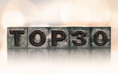 Stock Photo of Top 30 Concept Vintage Letterpress Type