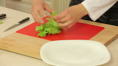 Chef rips green leaf lettuce Stock Footage