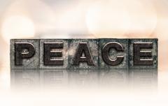 Peace Concept Vintage Letterpress Type Stock Photos
