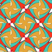 bright pattern in style of the fifties red, orange and neon - stock illustration