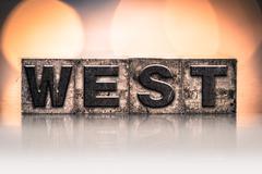 West Concept Vintage Letterpress Type - stock photo