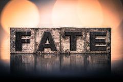 Fate Concept Vintage Letterpress Type - stock photo