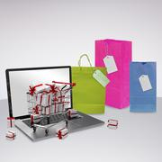 Composite image of trolley full of gifts Stock Photos