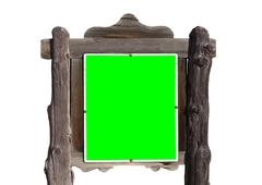 Rustic Wood Sign with Chroma Green Screen Insert - stock photo