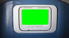 Seat Back Airplane Television with Chroma Green Stock Photos