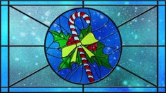 Stained Glass Christmas Candy Cane Snowy Day Loop Stock Footage