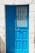 Azure door close up - stock photo