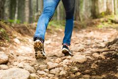Traveler infront of footpath in the forest - stock photo