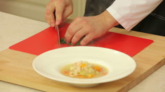 Serving soup with beans and vegetables Stock Footage