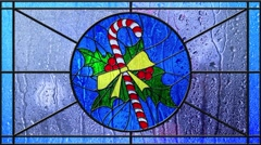 Stained Glass Christmas Candy Cane Rainy Day Loop Stock Footage