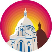 Catholic Church Dome Circle WPA Stock Illustration