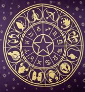 Wheel of Zodiac symbols - stock photo