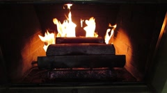 Stock Video Footage of HD Video of Fireplace with roaring fire