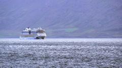 Stock Video Footage of ICELAND Eyafjoerdur AIDA nova cruise-ship Kreuzfahrtschiff