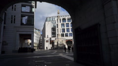 London Stock Exchange through arch  Stock Footage