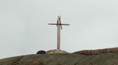 Cross at hill of Masaya vulcano Stock Footage