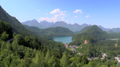Village of Hohenschwangau Lake Alpsee Hohenschwangau Castle Bavaria German Stock Footage