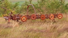 ICELAND Tedder Agriculture machinery Maschine rust Rost - stock footage