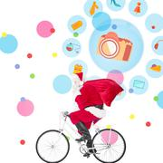 Stock Photo of Composite image of santa claus delivering gifts with bicycle