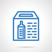 Simple blue line donation box vector icon - stock illustration