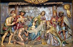 Holy nativiti scene, relief, Stitar, Croatia - stock photo