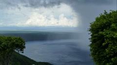 Rain over lake Apoyo in time lapse Stock Footage