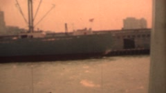Freighter and skyline of San Francisco Stock Footage