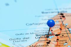 Lorica pinned on a map of America - stock photo