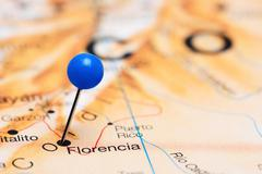 Florencia pinned on a map of America - stock photo