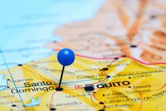 Santo Domingo pinned on a map of America - stock photo