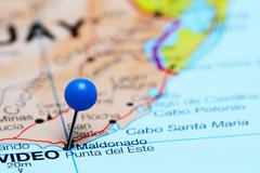 Punta del Este pinned on a map of America Stock Photos