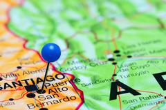 Puente Alto pinned on a map of Chile Stock Photos