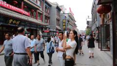 Dashilan shopping street - famous and ancient commercial street in Beijing - stock footage