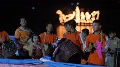 Traditional music band at Ok Phansa Festival,Ubon Ratchathani,Thailand Stock Footage