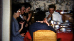 1957: Family saying grace before a meal to feel thankful for food. Stock Footage